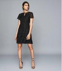 reiss czara - lace midi dress in black, womens, size 12