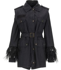 mr & mrs italy midi parka with feathers