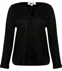blusa con lazos en cuello color negro, talla 12