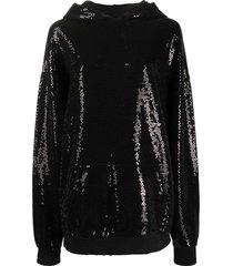 r13 sequin embellished hoodie - black