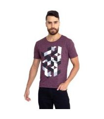 camiseta molinê geométrica vinho