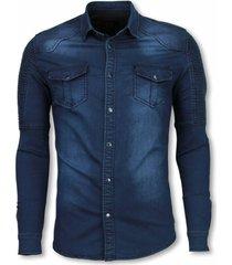 true rise biker denim shirt slim fit ribbel schoulder