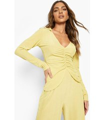 geribbelde blouse met strik, mustard