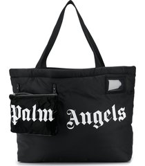 palm angels logo-print oversized tote bag - black