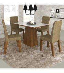 mesa de jantar 4 lugares merengue com vidro branco11573 seda/neve - mobilarte móveis