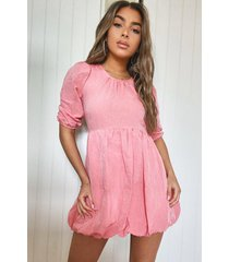petite linen look puffball mini dress, coral