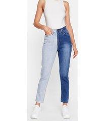 womens two-tone's the charm high-waisted mom jeans - light blue