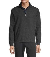 perry ellis men's quarter-zip cotton-blend sweater - charcoal - size xl