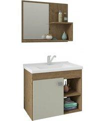 gabinete suspenso para banheiro lótus 46x55cm carvalho e off white