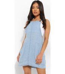 petite chambray tuinbroek jurk, light blue