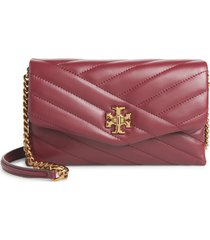 women's tory burch kira chevron quilted leather wallet on a chain - red