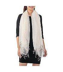 silk blend scarf, 'dazzling beauty in alabaster' (thailand)