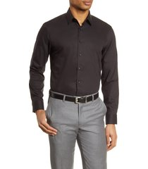 men's nordstrom extra trim fit non-iron solid stretch dress shirt, size 17 - black