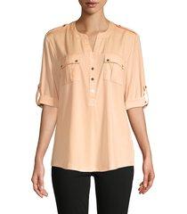 calvin klein women's rolled-sleeve pocket blouse - papaya - size xl