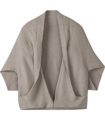 gebreid cape-jasje zonder sluiting met sjaalkraag, steengrijs 40/42
