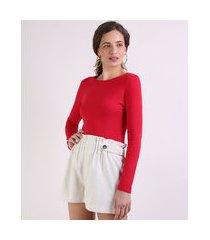 blusa feminina básica manga longa decote redondo vermelho