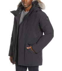 men's canada goose black label edgewood 625 fill power down parka with genuine coyote fur trim, size small - blue