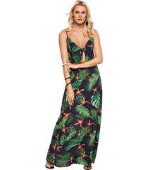 vestido modisch longo knot marinho