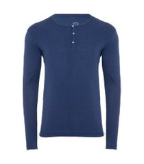 t-shirt masculina pima berlim botões slim fit - azul