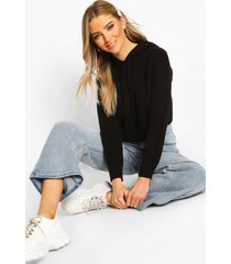 knitted hooded cropped sweater, black