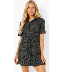 blouse jurk met korte mouwen en opdruk, black