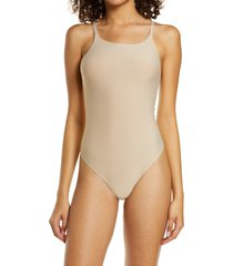 women's honeydew intimates skinz thong bodysuit, size small - beige