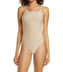 women's honeydew intimates skinz thong bodysuit, size x-large - beige