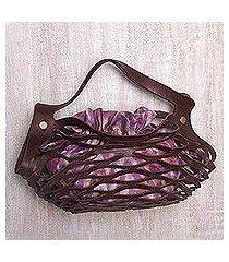 leather shoulder bag, 'deep lavender nest' (indonesia)