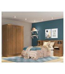 quarto completo com guarda roupa luke e cabeceira com 2 mesas laterais madesa - rustic marrom