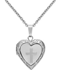 children's mother of pearl cross and heart locket in sterling silver (1/5 ct. t.w.)