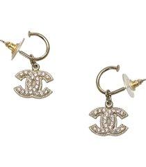 chanel cc rhinestone drop earrings gold, white sz: