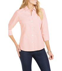 women's foxcroft paityn non-iron cotton shirt, size 2 - coral