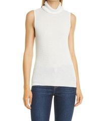 l'agence sabrina metallic sleeveless turtleneck sweater, size large in ivory at nordstrom