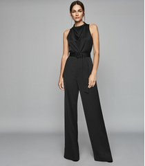 reiss milo - belted jumpsuit in black, womens, size 12