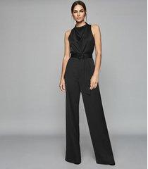 reiss milo - belted jumpsuit in black, womens, size 12