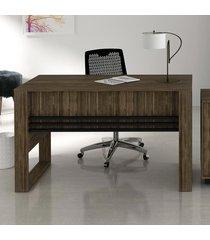 mesa para escritório me4146 nogal/preto - tecno mobili