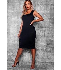 plus longline square neck midi dress, black