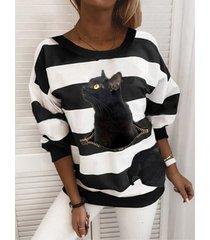 camicetta taglia plus patchwork a righe con stampa gatto