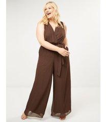 lane bryant women's polka dot faux-wrap jumpsuit 28 brown and pink polka