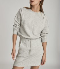reiss jetta - jersey sweater dress in grey marl, womens, size l