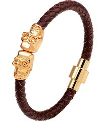 bracciale rigido da uomo con teschio in oro bicolore. catena in pelle multicolore