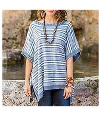 cotton poncho, 'elegant stripes' (guatemala)