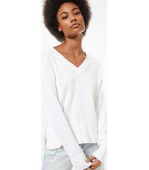 mk pullover in cotone e cashmere - bianco (bianco) - michael kors