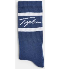 mens signature navy double stripe tube socks