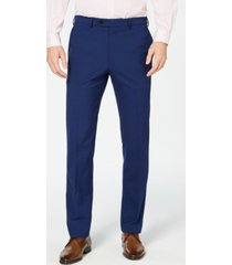 vince camuto men's slim-fit stretch wrinkle-resistant blue check suit pants