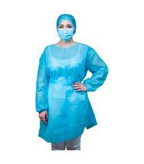 avental descartável azul claro manga longa protect premium tnt 40g pct 05 und