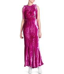 velvet gathered-sleeve gown