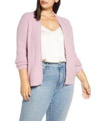plus size women's 1.state zip front eyelash sweater jacket, size 1x - pink