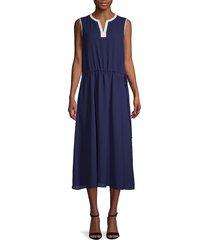 anne klein women's drawstring midi dress - blue - size xs
