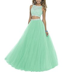 fanmu women's beaded two piece a line tulle prom dresses evening gown mint us 12